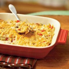 This chicken spaghetti casserole is low in calories and can easily be made ahead. The recipe makes two casseroles so enjoy one for dinner and freeze the other for later. To prepare the frozen casserole, cover and bake for 55 minutes at 350°; uncover and bake an additional 10 minutes or until hot and bubbly.