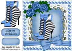 BLUE STRIPED BOOTS WITH ROSES AND BOW 8X8 on Craftsuprint - Add To Basket!