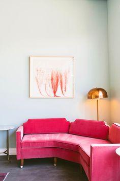 Pink sofa mid century