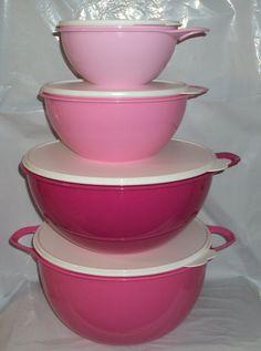 Tupperware 6 12 32 42 C Thatsa Mega Bowl Mixing Bowls Set 4 Different Pink ^^ You can get additional details at : Baking mixing bowls