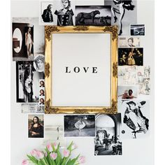 dens/libraries/offices - wall decor black white photos gilt frame love... ❤ liked on Polyvore