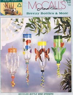 Breezy Bottles Wind Spinners Recycle Soda by howtobooksandmore Pop Bottle Crafts, Plastic Bottle Crafts, Recycle Plastic Bottles, Wind Spinners, Summer Crafts, Crafts For Kids, Recycled Crafts, Diy Crafts, Pop Bottles