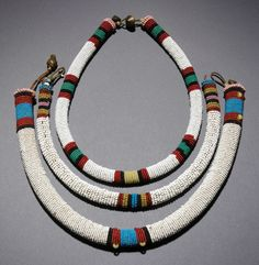Africa/Three classic north Nguni rolled beaded necklaces/Late to early century African Beads, African Jewelry, Tribal Jewelry, Jewelry Art, Antique Jewelry, Beaded Jewelry, Jewelry Accessories, Handmade Jewelry, Beaded Necklaces
