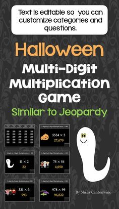 Looking for an easy way to review Multi Digit Multiplication during the Halloween season? This is it! With 25 questions, students will have lots of review and they'll enjoy the Halloween themed clip art and color scheme. All the text boxes are editable so you can customize all the categories and questions for your class.