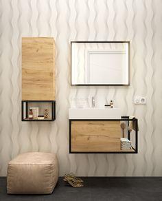 Muebles Davinci badkamermeubel 80cm met 60cm wastafel mat zwart & eiken - 26435 | Sanitairkamer.nl