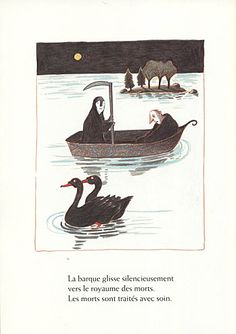 Kitty Crowther - The boat glides silently into the realm of the dead. The dead are treated with care. Kitty Crowther, Danse Macabre, Book Jacket, Book Art, Rooster, Illustration Art, Doodles, Drawings, Picture Books
