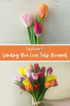 The best way to let someone know that you are thinking about them is by the Sending You Love Tulip Bouquet. This bouquet is dedicated to your loved one who you Tulip Bouquet, Cascade Bouquet, Spring Bouquet, Fresh Flowers, Spring Flowers, Fifty Flowers, Beautiful Bouquets, Spring Weddings, Tulips