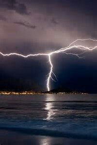Lightning over Cape Town,Africa