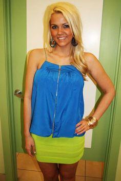 Cobalt and lime green! amazing color combo!   www.shopmaterialgirls.com