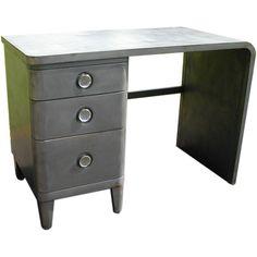 Gun metal grey enameled metal desk/vanity - 1930's-40's - Simmons Furniture - designer Norman Bel Geddes.