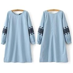 (PRE ORDER) SLEEVE EMBROIDERY DENIM DRESS