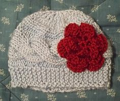 Knit Horizontal Cable hat with side Flower by TwoBearsKnit on Etsy