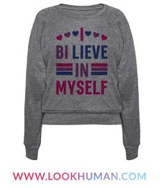 "Show off your bisexual pride with this ""I Bi-lieve In Myself"" bi pride design, because it doesn't matter what people think as long as you believe in yourself! Perfect for believing in yourself, coming out, being bisexual, queer pride, self love, gay pride, and bisexual quotes!"