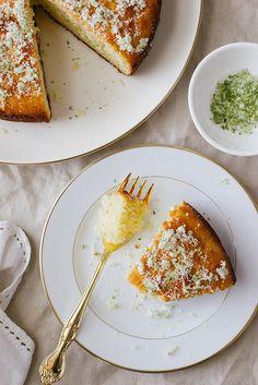 olive oil, yogurt, and lime cake