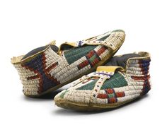 Pair of Arapaho Beaded Hide Man's Moccasins -------- Sotheby's