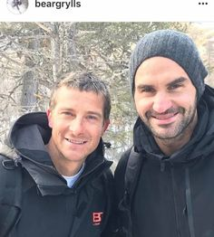 Bear Grylls Meets Roger Federer #news #outdoor #tennis #beargrylls #runningwild #forest #rogerfederer #adventure #switzerland #weekend #mountains #exploring #landscape #nature #bewild Bear Grylls, Roger Federer, Taylor Rogers, Tennis, Winter Hats, Mens Sunglasses, Instagram, Adventure, Sport