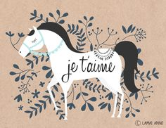 Je t'aime horse and floral illustration by Melbourne artist Lamai Anne McCartan