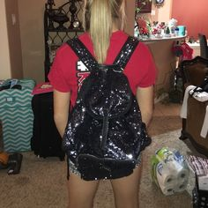 Victoria secrets glitter back back Blacksburg silver sparkles good shape the pink label on front does need some stitching repair  will be a quick fix the needle and thread. Very beautiful PINK Victoria's Secret Bags Backpacks