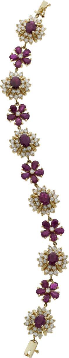 Estate Jewelry:Bracelets, Ruby, Diamond, Gold Bracelet. ... Image #1