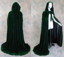 Lined Green Black Velvet Cloak - Medieval
