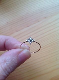 Ring CATBIRD Dark & Stormy Star Pave Diamonds Sterling 14K Rose Gold Band Size 8 #Catbird #Band