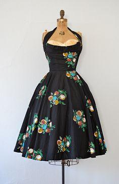 vintage 1950s black floral Fred Perlberg dress