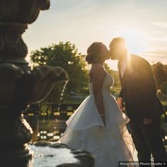 Sunset photography of couple kissing