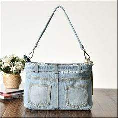 Denim Shoulder Bags, Bag Patterns, Denim Bag, Store, Fashion, Jean Bag, Moda, Fashion Styles, Larger