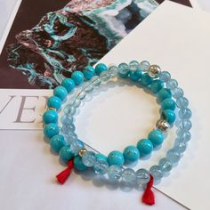 Venusrox Turquoise beads and Aquamarine beaded bracelets x