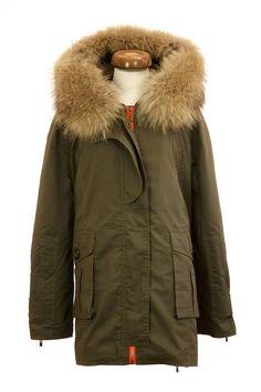 Raccoon Fur Collar Parka Jacket Green Front
