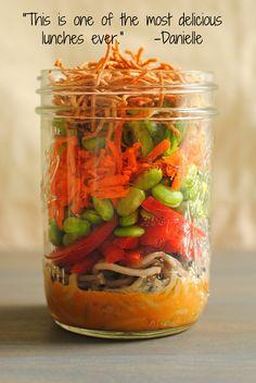 Asian Noodle Salad Jars - a portable, colorful and healthful lunch!   foxeslovelemons.com