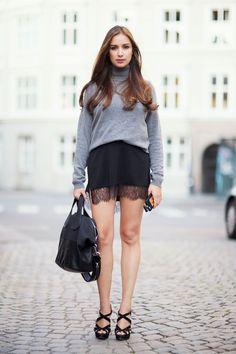 Ingrid Holm wool turtleneck lace skirt Givenchy Nightingale medium Miu miu heels. More on my blog www.ingridholm.no