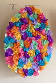 He really enjoyed crumbling up the tissue paper and using a glue stick! Bunny Crafts, Easter Crafts For Kids, Toddler Crafts, March Crafts, Spring Crafts, Easter Activities, Activities For Kids, Children's Day Gift, Butterfly Decorations