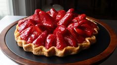 """Learn how to make a Fresh Strawberry Tart! Visit for the ingredients, more information, and many, many more video recipes. I hope you enjoy this """"Free-Form"""" Strawberry Tart Recipe! Lemon Desserts, Just Desserts, Strawberry Desserts, Tart Recipes, Dessert Recipes, Pastries Recipes, Cupcake Recipes, Brunch Recipes, Strawberry Cream Pies"""