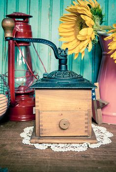 Beautiful Vintage Wooden Coffee Grinder by TheUrbanBarn on Etsy, $42.00 original Vintage kitchen décor mid century etsy shops antique colorful unique one of a kind 50s 60s 70s cute gift for her for him rusty rustic primitive barn farm country home farmhouse weddings wedding decoration