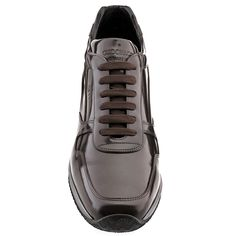 Manhattan - Elevator Sneakers. Upper in shiny brown calfskin, insole in genuine leather, lightweight high quality rubber outsole anti-slip. Hand Made in Italy.
