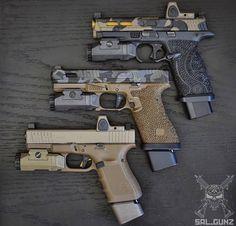 Glocks Daily — Triple threat 🔥 via Military Weapons, Weapons Guns, Guns And Ammo, Armas Airsoft, Armas Ninja, Custom Guns, Custom Glock 19, Cool Guns, Tactical Gear