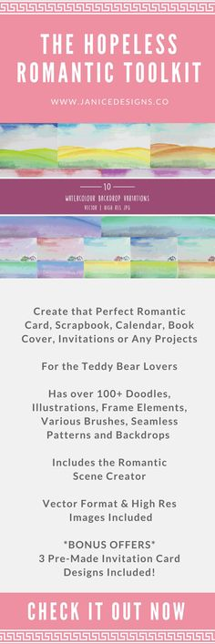 The Hopeless Romantic Toolkit has over 100+ Doodles, Illustrations, Frame elements, Various brushes and backdrops for you to use and choose from to create that perfect romantic card, scrapbook, calendar, book cover, invitations, bookmarks, postcards, children's party printables, stationery, wallpaper and so much more..