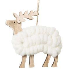 Déco de Noël cerf en bois et laine