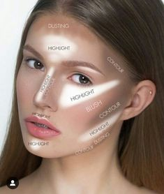 A great basic graph for where to put contour and highlight! - A great basic graph for where to put contour and highlight! A great basic graph for where to put contour and highlight! Contouring Makeup, Contouring And Highlighting, Skin Makeup, Makeup Brushes, Contour Makeup How To Do, Where To Contour, Strobing, Maquillage On Fleek, Makeup Order