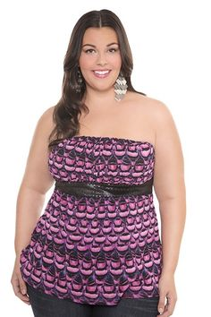 Z. Cacaricci pink and purple print mest tube top - Torrid