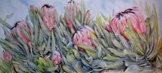 #Floral Art#Proteas#Western Cape#Oil Paintings 'Céad Míle Fáilte' (Gaelic for 'A hundred thousand welcomes')Oil on canvas, 2.2m x 1m. Commission painted by Ellie Eburne