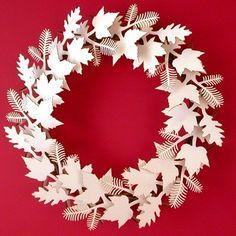 Leaf Wreath - blanc ou brun