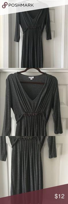 V neck dress Grey v neck dress with tie waist New York & Company Dresses Midi
