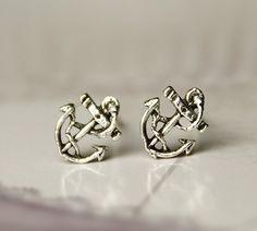 [grxjy530097]Silver retro anchor earrings