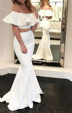 Elegant Mermaid Off Shoulder Two Piece Prom Dress 2017 Ivory Formal Evening Gown