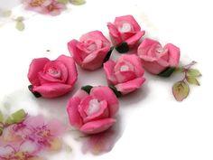 N493F Vintage Flower Cabochons Porcelain Lot Roses Rose Buds Flowers Floral Pink by purpleviolets77 on Etsy https://www.etsy.com/listing/467757203/n493f-vintage-flower-cabochons-porcelain