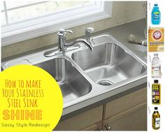 Spray the sink with white vinegar. Sprinkle baking soda. Let sit for 10 minutes. Scrub it. For shiny stainless steel sink