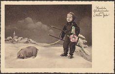G0247 Chimney Sweep postcard, New Year, Pig, Ladder, Snow, Used | eBay