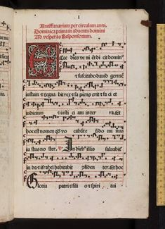 The Antiphonal (or Antiphoner) was the principal medieval choir book, and contained the chants of the Office. The title is derived from the way the verses of the service were sung alternately by the two halves of the choir sitting opposite one another. This edition is for the use of Augsburg, and is a fine example of early music printing showing Gothic neumes printed on staves of four red lines. - Early Printing - in Europe